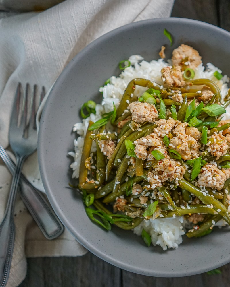 Spicy Asian Green Beans with Ground Turkey