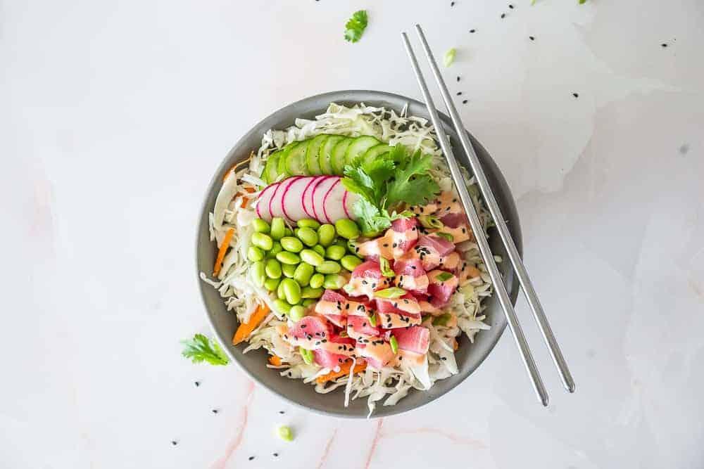 Spicy Ahi Tuna Poke Bowl {Keto}